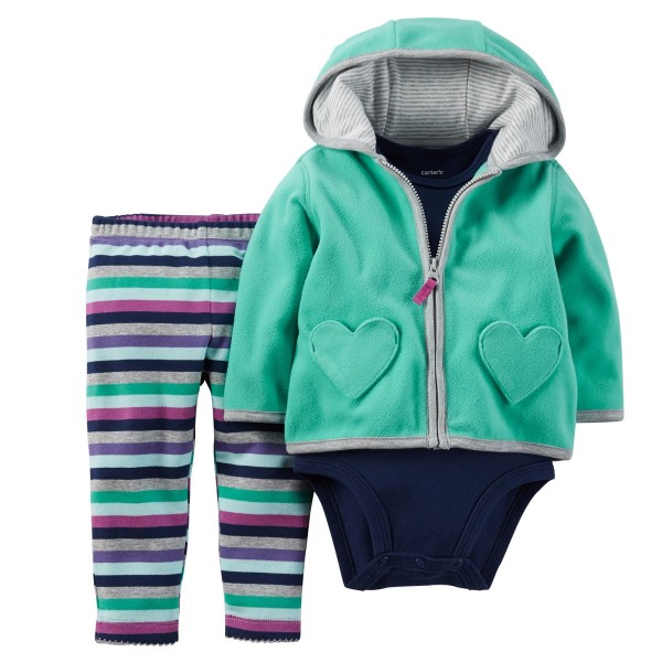 "Флисовый комплект 3в1 ""Mint heart"" Carters"